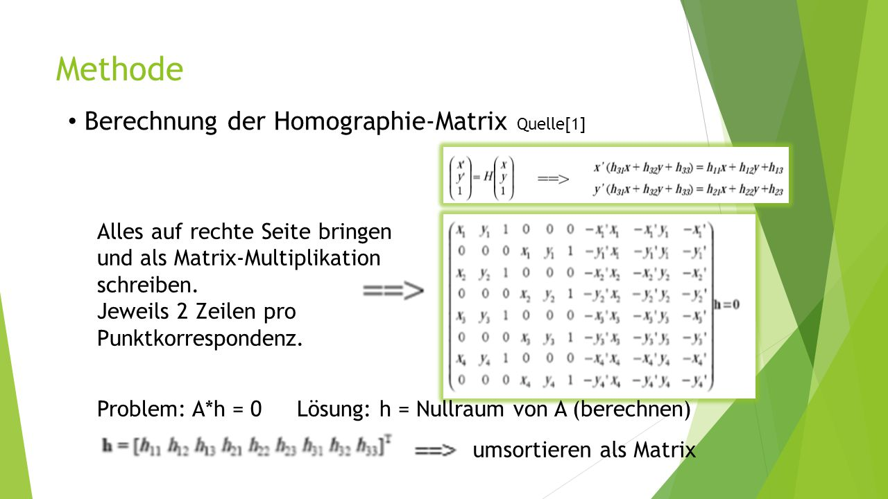 Methode Berechnung der Homographie-Matrix Quelle[1]